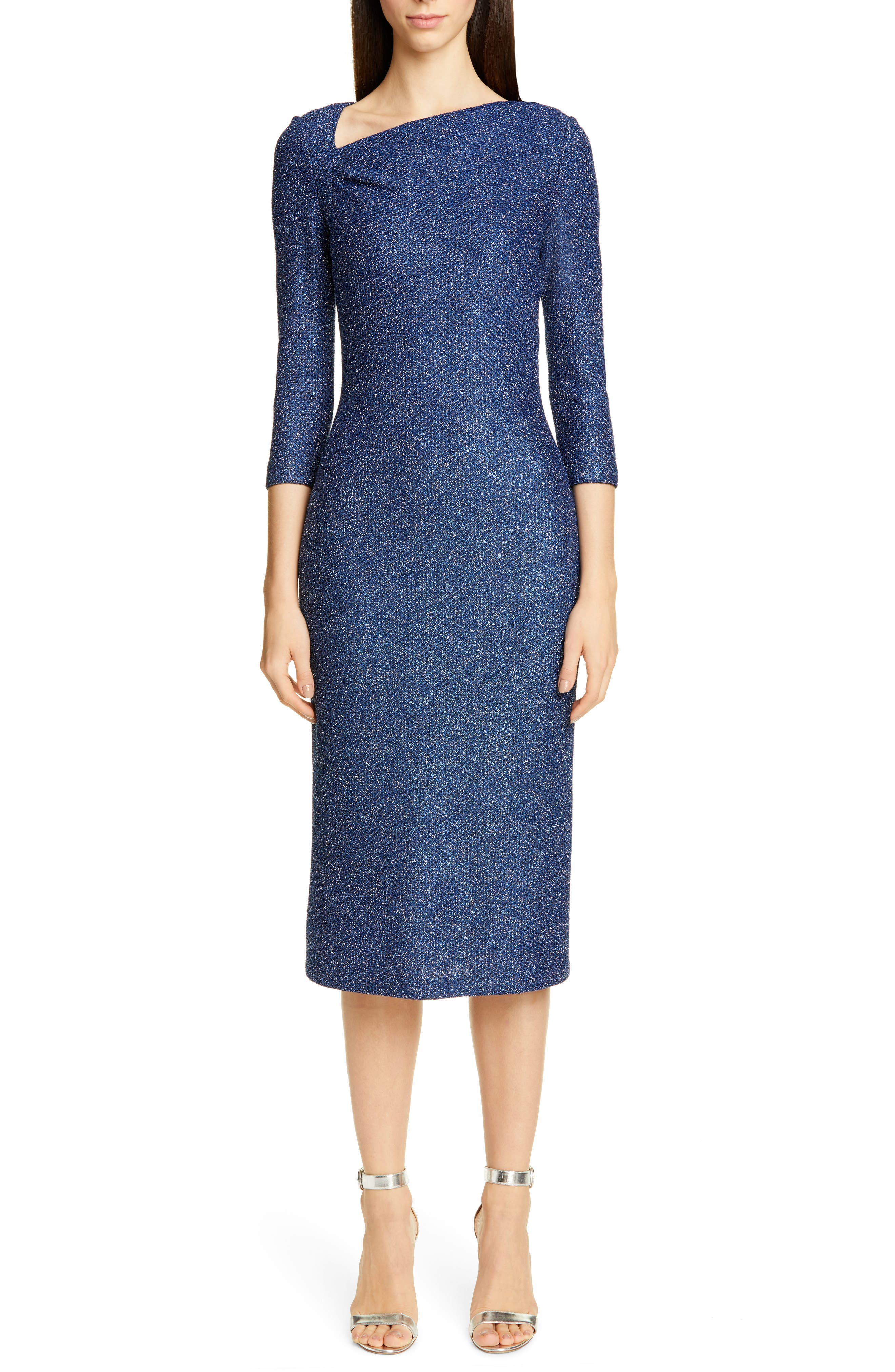 St. John Collection Luxe Sequin Tuck Knit Dress, Blue