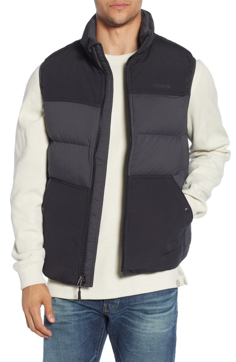 FILSON Featherweight Water Repellent Down Vest, Main, color, FADED BLACK