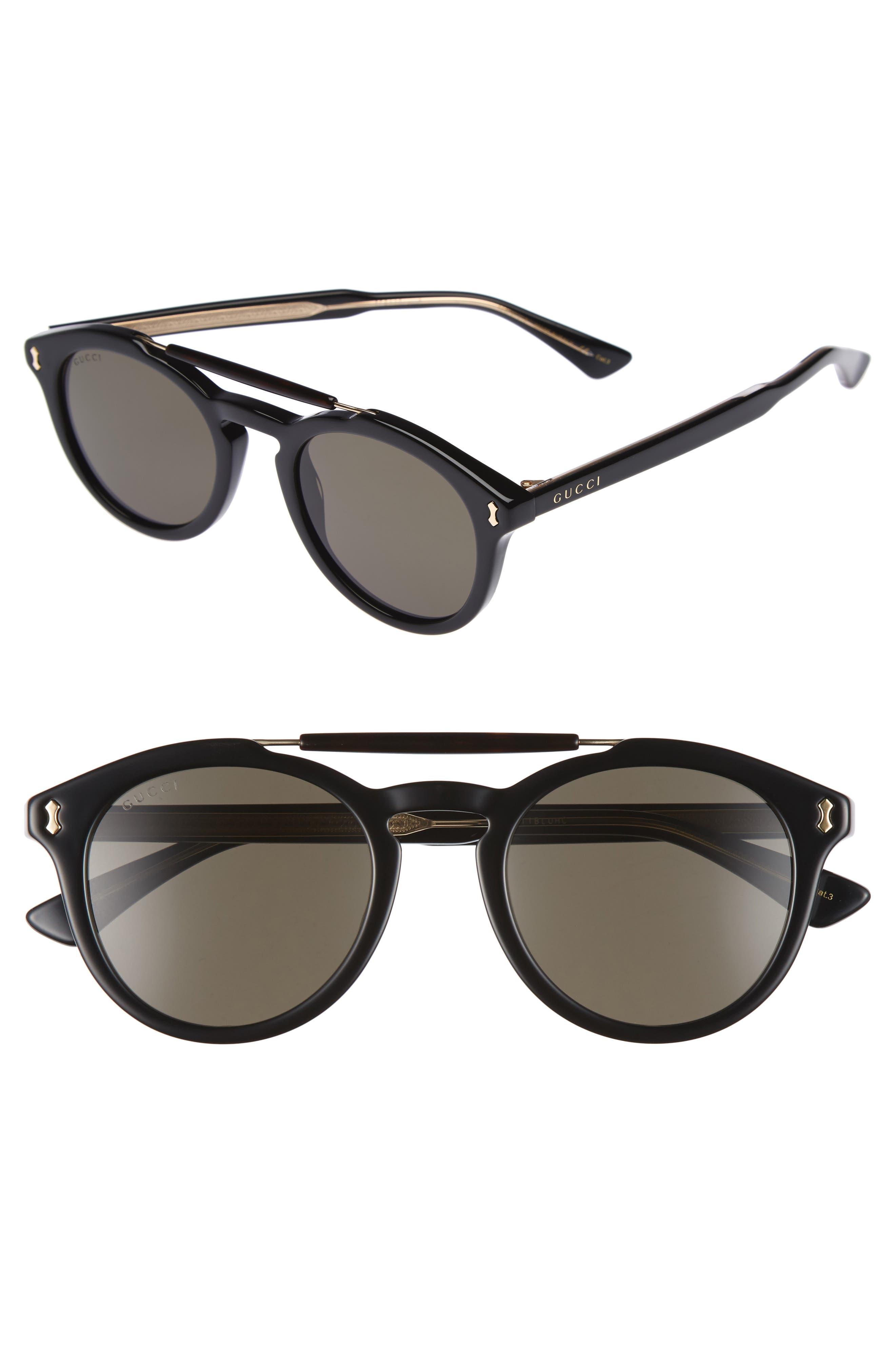 Vintage Pilot 50mm Sunglasses, Main, color, 001