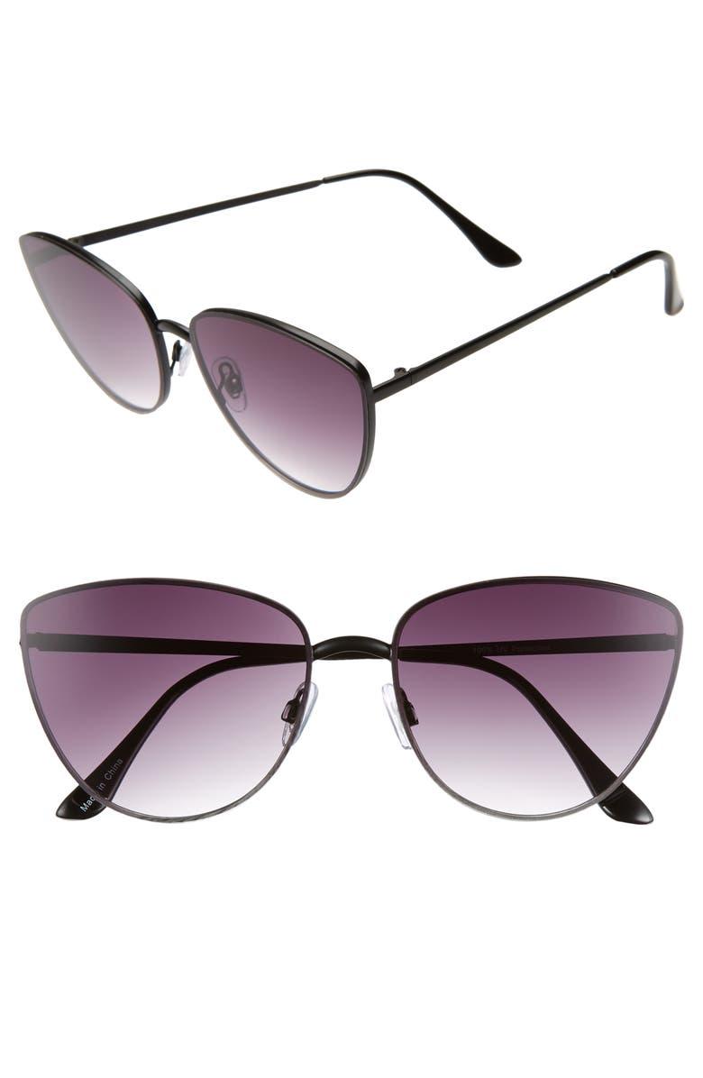 BP. Rimless Cat Eye Sunglasses, Main, color, 001