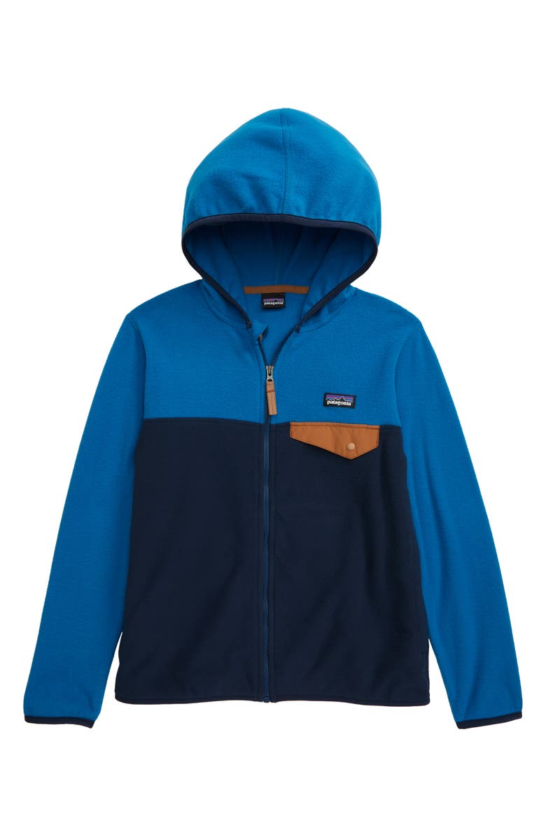 PATAGONIA Micro D<sup>®</sup> Snap-T<sup>®</sup> Hooded Fleece Jacket, Main, color, NEW NAVY/ BALKAN BLUE
