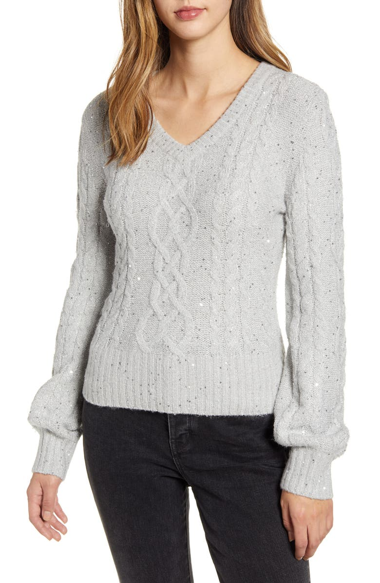 RACHEL PARCELL Sequin Cable Knit Puff Sleeve Sweater, Main, color, GREY VIOLET