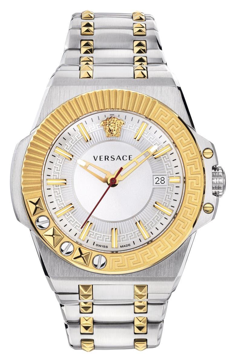 VERSACE Chain Reaction Bracelet Watch, 45mm, Main, color, SILVER/ GOLD