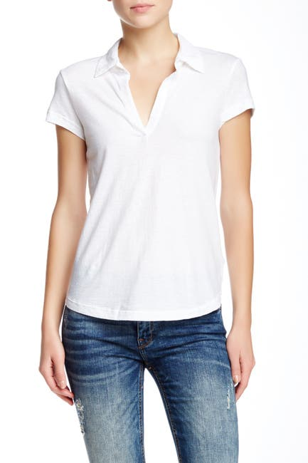 Image of James Perse Curved Hem Polo