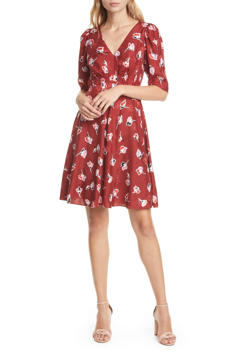 REBECCA TAYLOR Paintbrush Floral Silk Blend Dress, Main, color, CABERNET COMBO