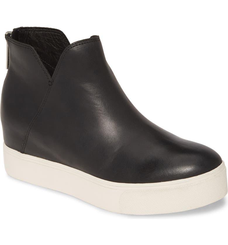 JSLIDES Shea Sneaker Boot, Main, color, BLACK LEATHER