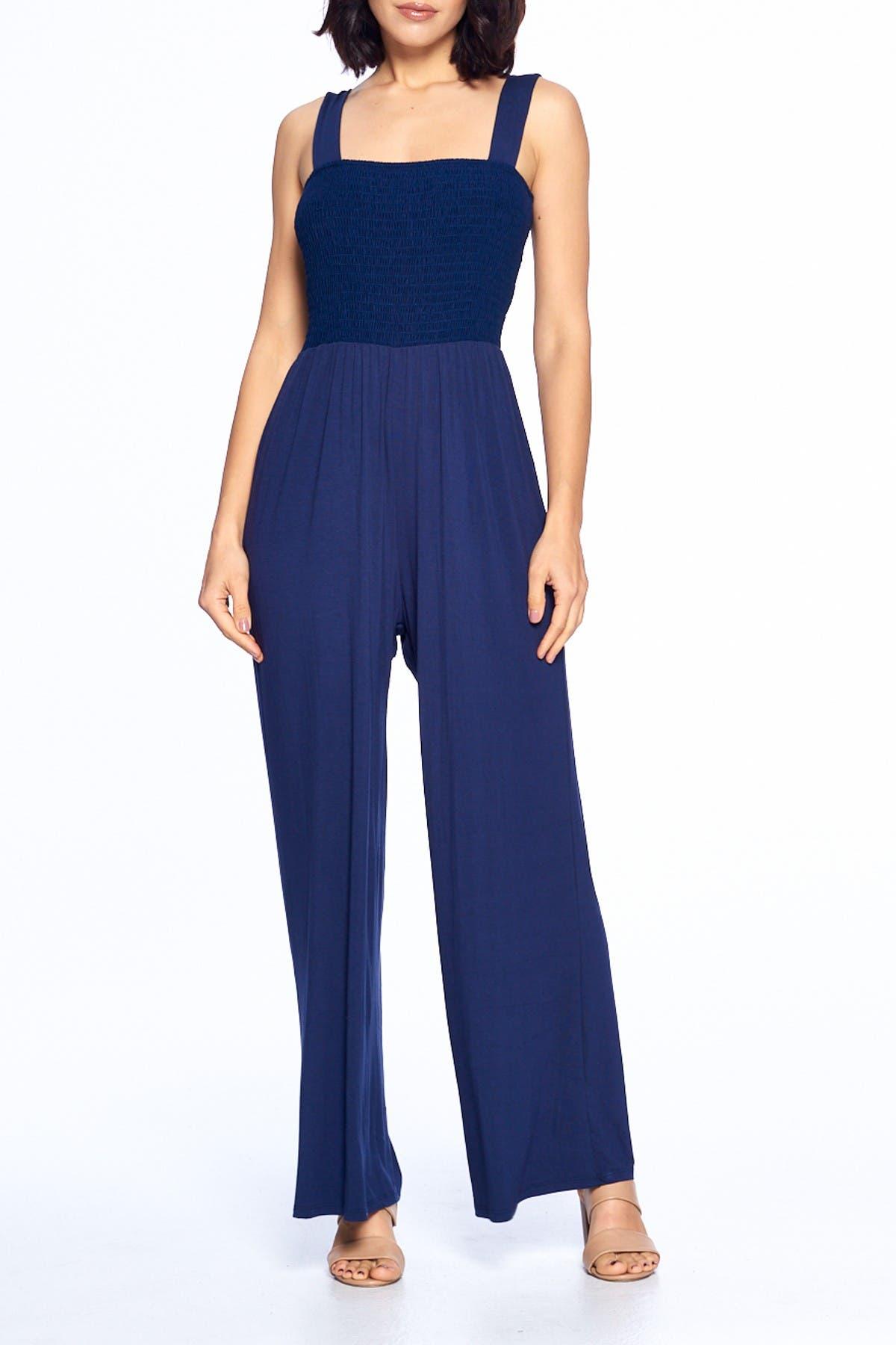 Image of WEST KEI Smocked Knit Sleeveless Jumpsuit