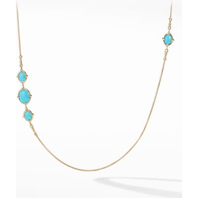 David Yurman Chatelaine Long 18K Gold Necklace With Turquoise