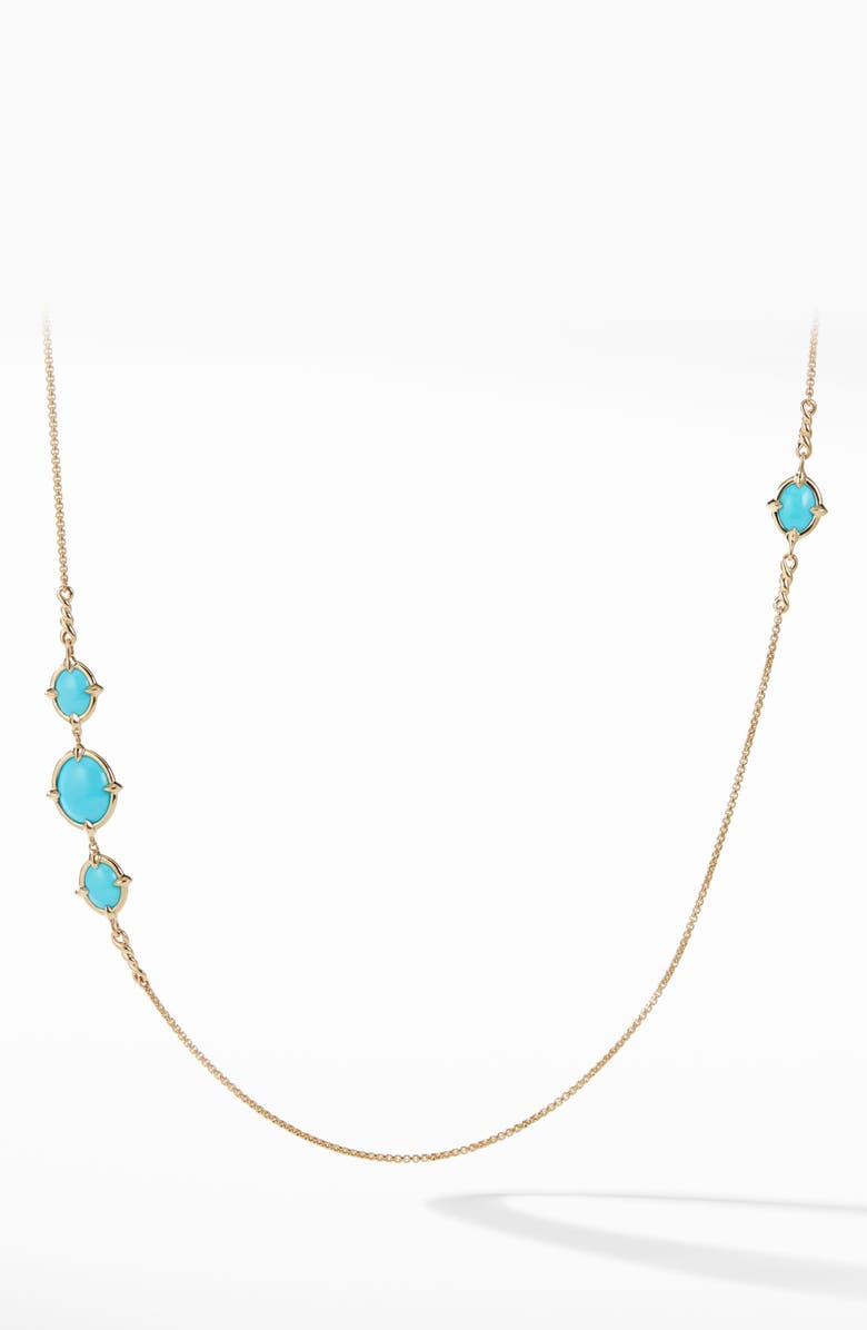 DAVID YURMAN Chatelaine<sup>®</sup> Long 18k Gold Necklace with Turquoise, Main, color, GOLD/ DIAMOND/ TURQUOISE