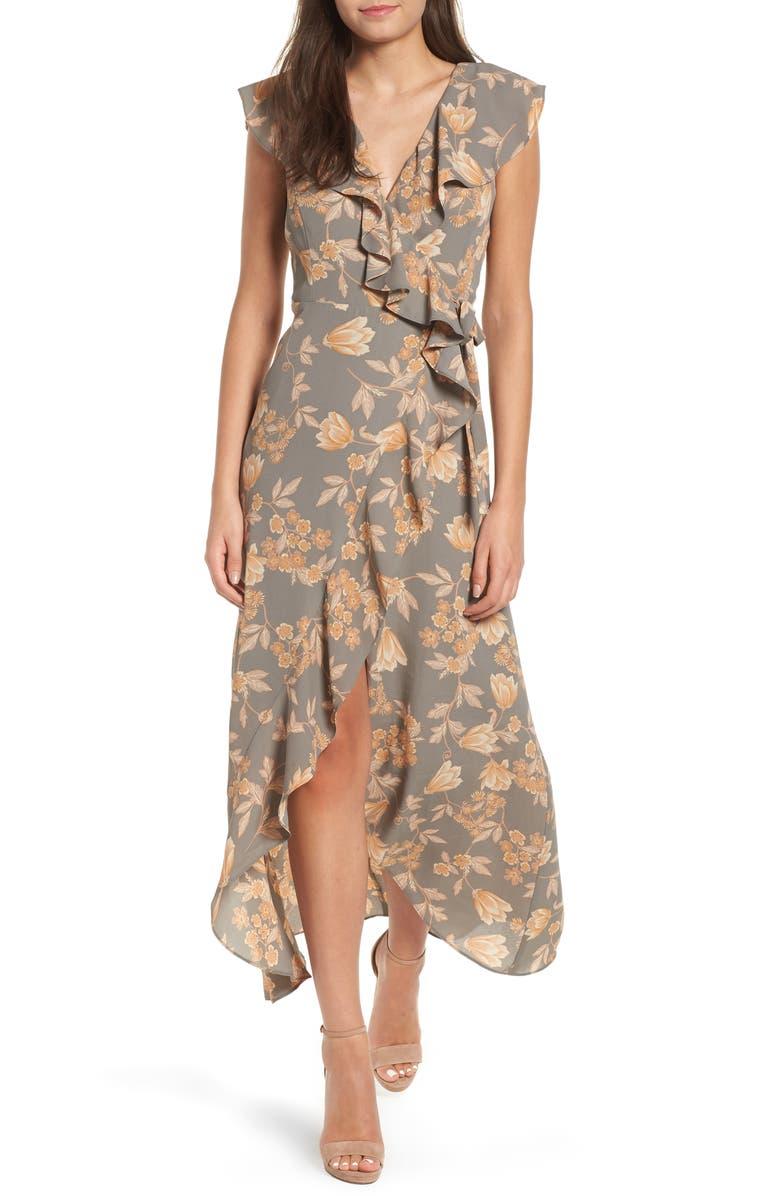 LEITH Ruffle Wrap Maxi Dress, Main, color, 050