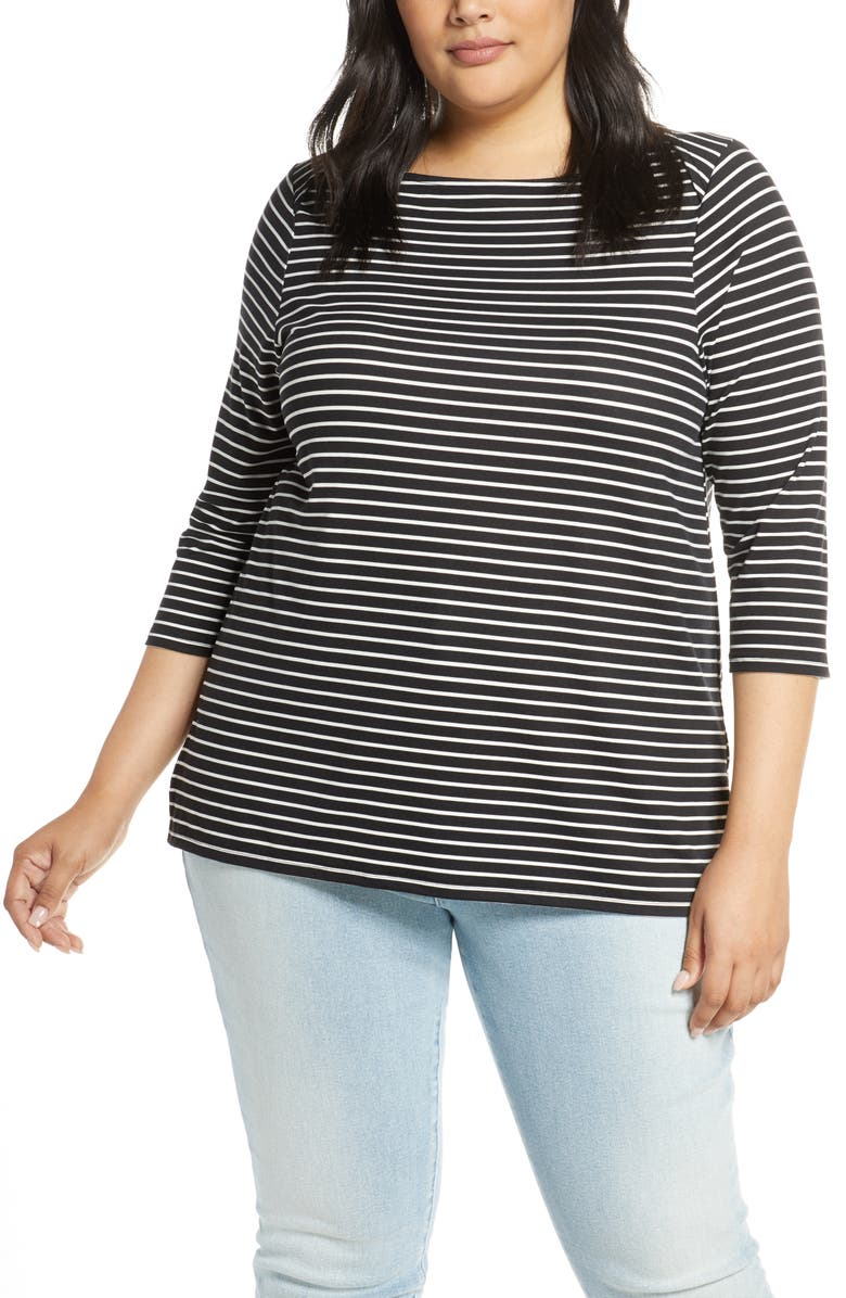 BOBEAU Jennifer Butter Envelope Neck Top, Main, color, MINI STRIPE BLACK
