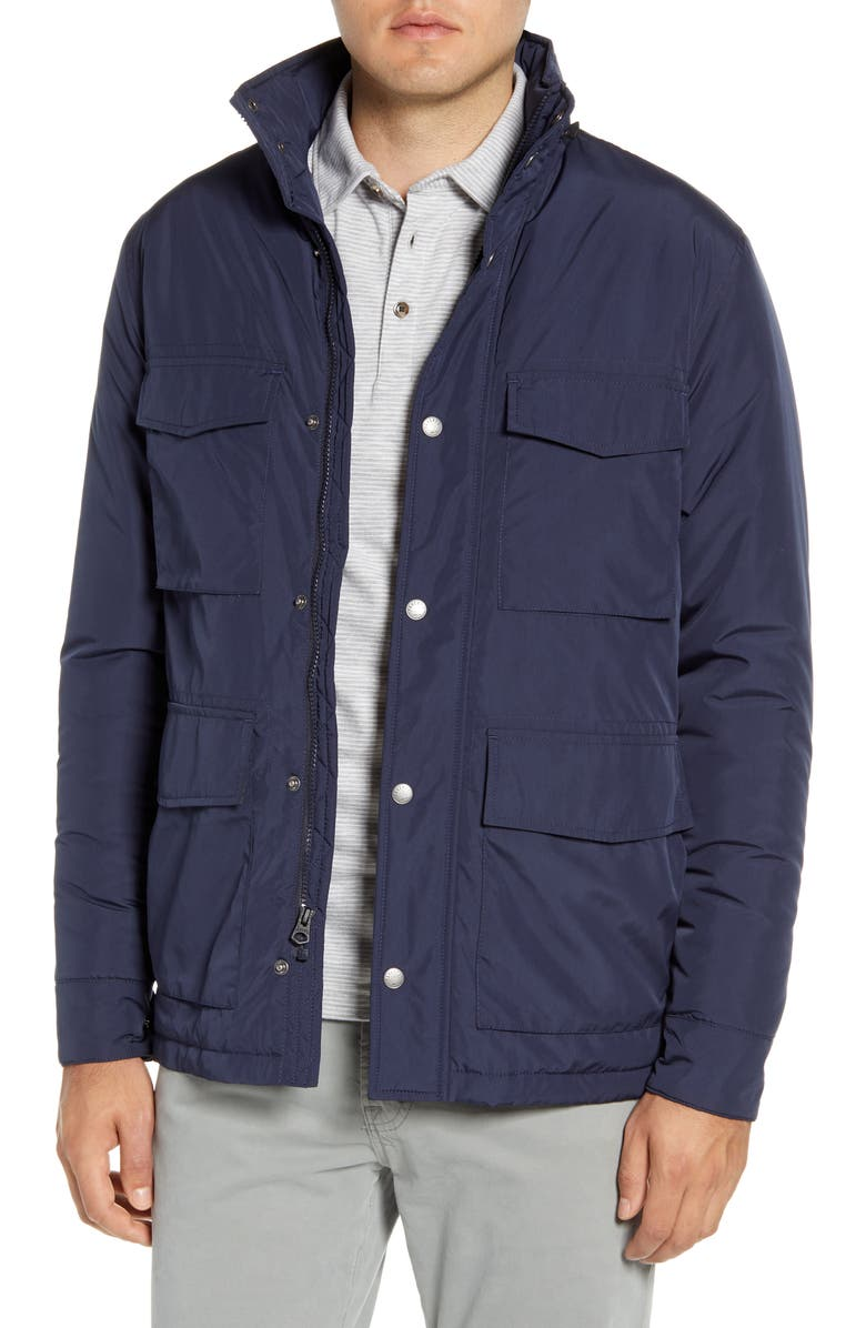 FAHERTY Regular Fit Hooded Field Jacket, Main, color, NAVY