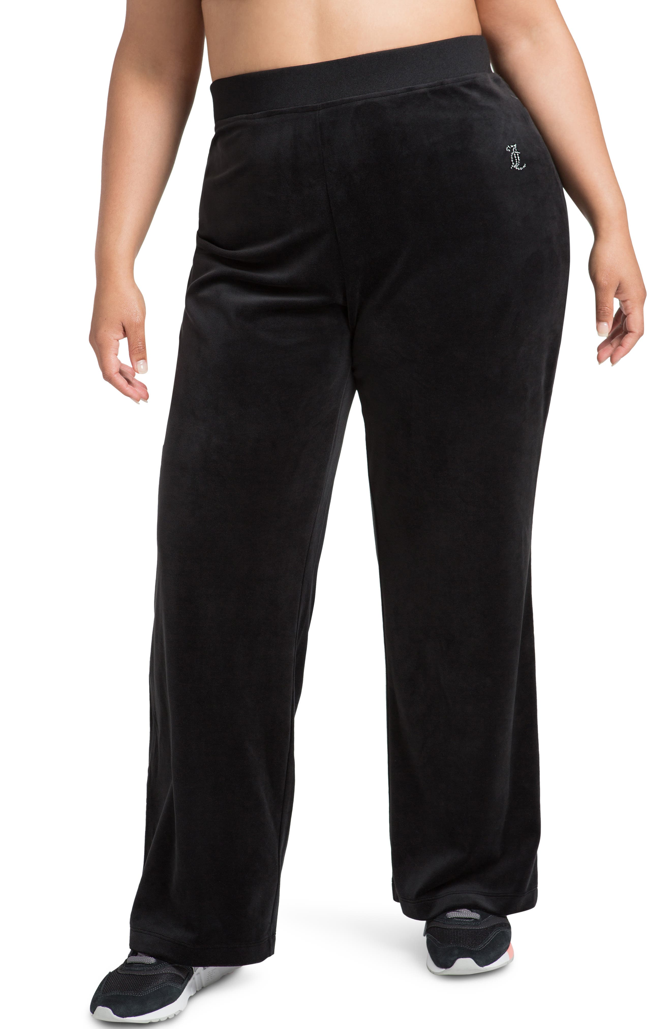 Plus Women's Juicy Couture Embellished Velour Pants