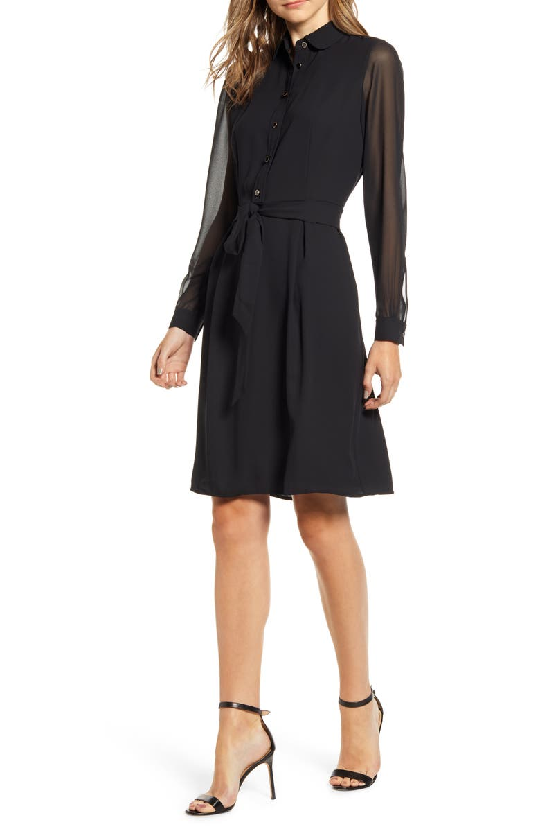 ANNE KLEIN Long Sleeve Chiffon & Crepe Shirtdress, Main, color, ANNE BLACK