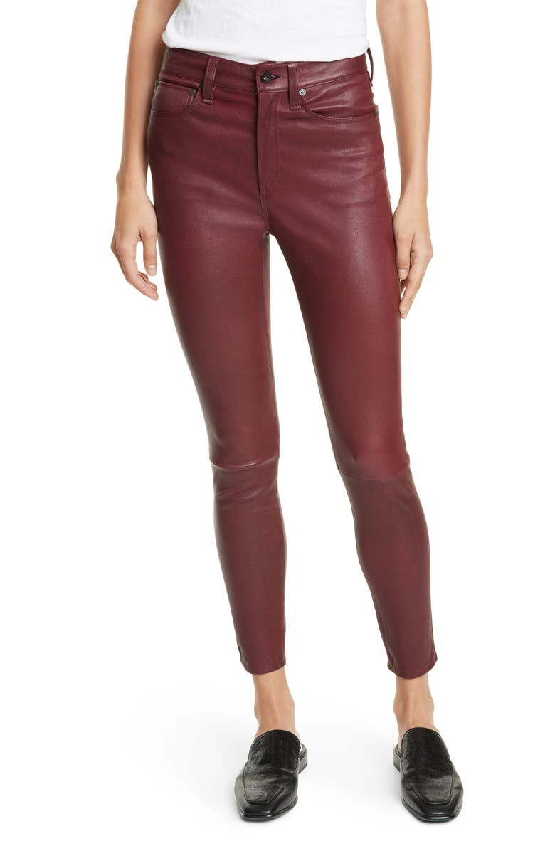 RAG & BONE Nina High Waist Ankle Skinny Leather Pants, Main, color, TAWNY PORT