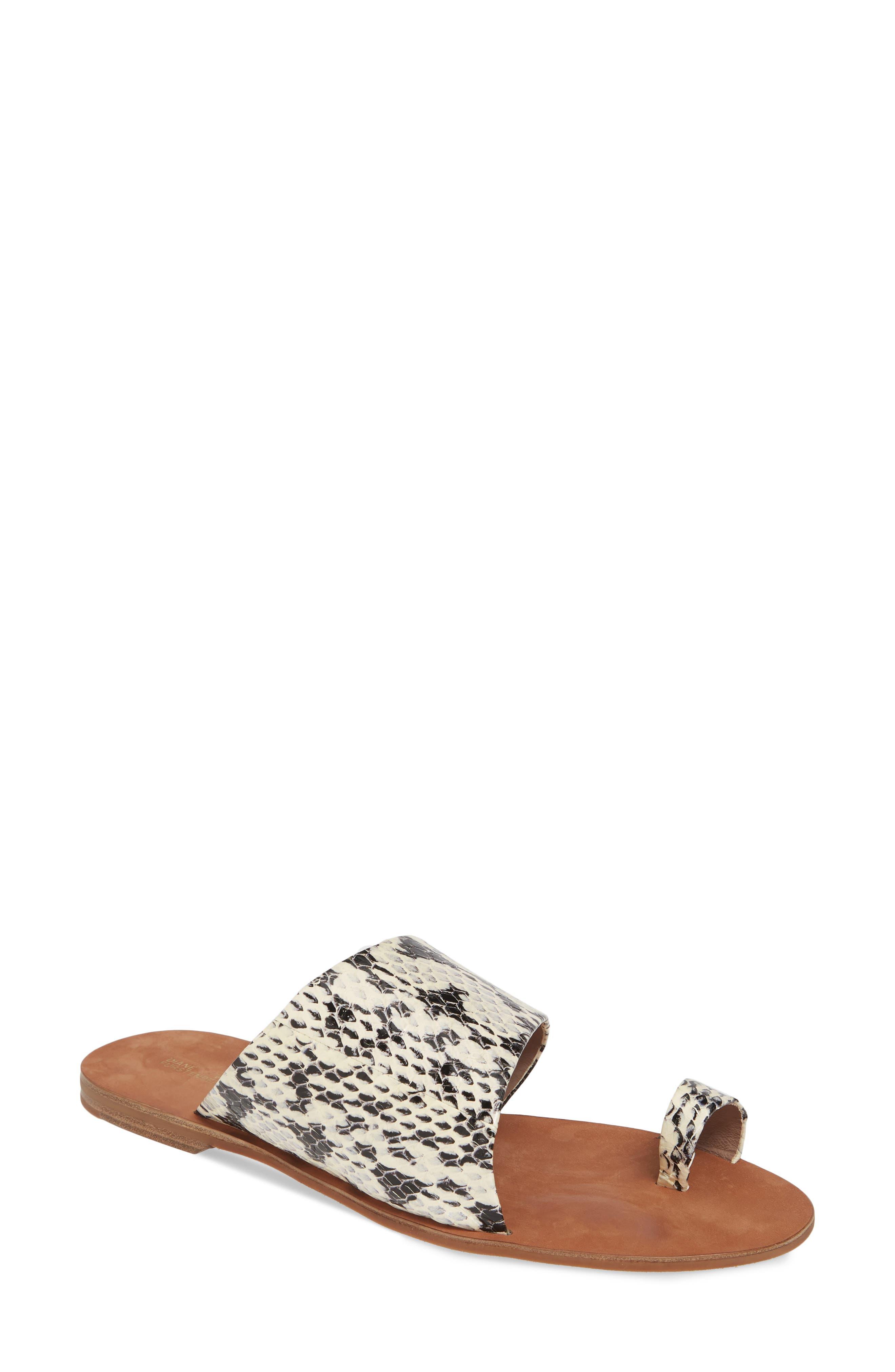 Diane Von Furstenberg Brittany Asymmetrical Flat Sandal, Beige