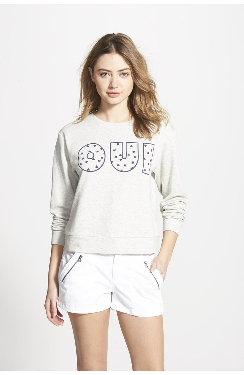 ACE DELIVERY 'Oui' French Terry Sweatshirt, Main, color, 020