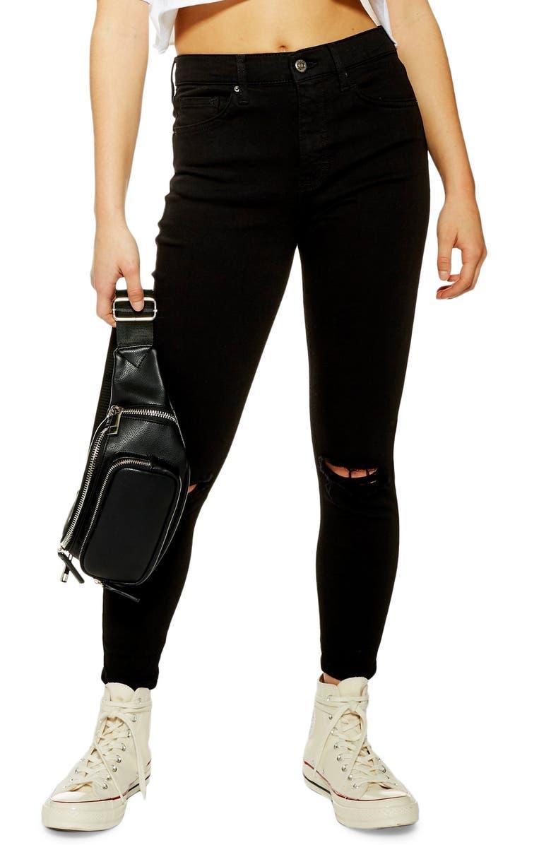 TOPSHOP Austin Jame Moto Rip Jeans, Main, color, BLACK
