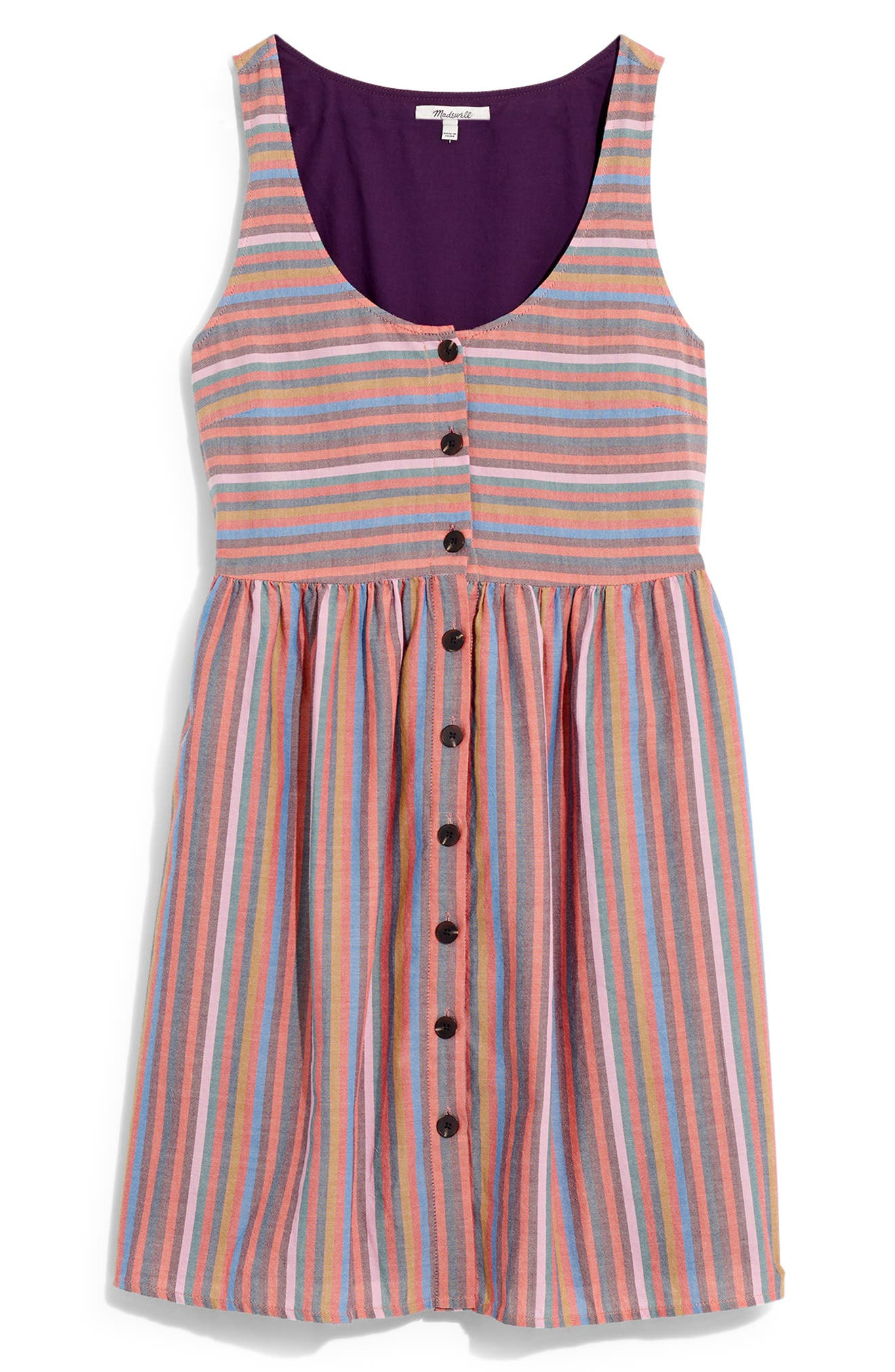 ,                             Rainbow Stripe Tank Dress,                             Alternate thumbnail 8, color,                             MULLED WINE SMITH STRIPE