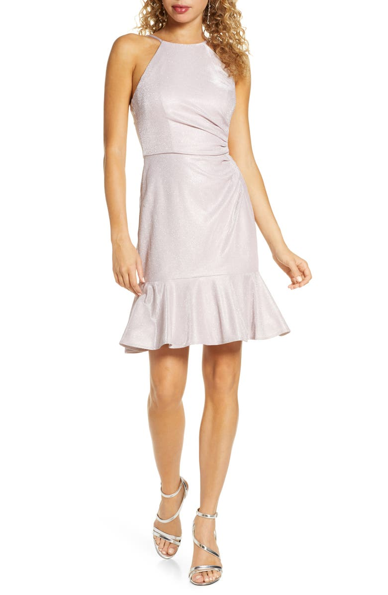 MORGAN & CO. Ruched Metallic Flounce Dress, Main, color, MAUVE