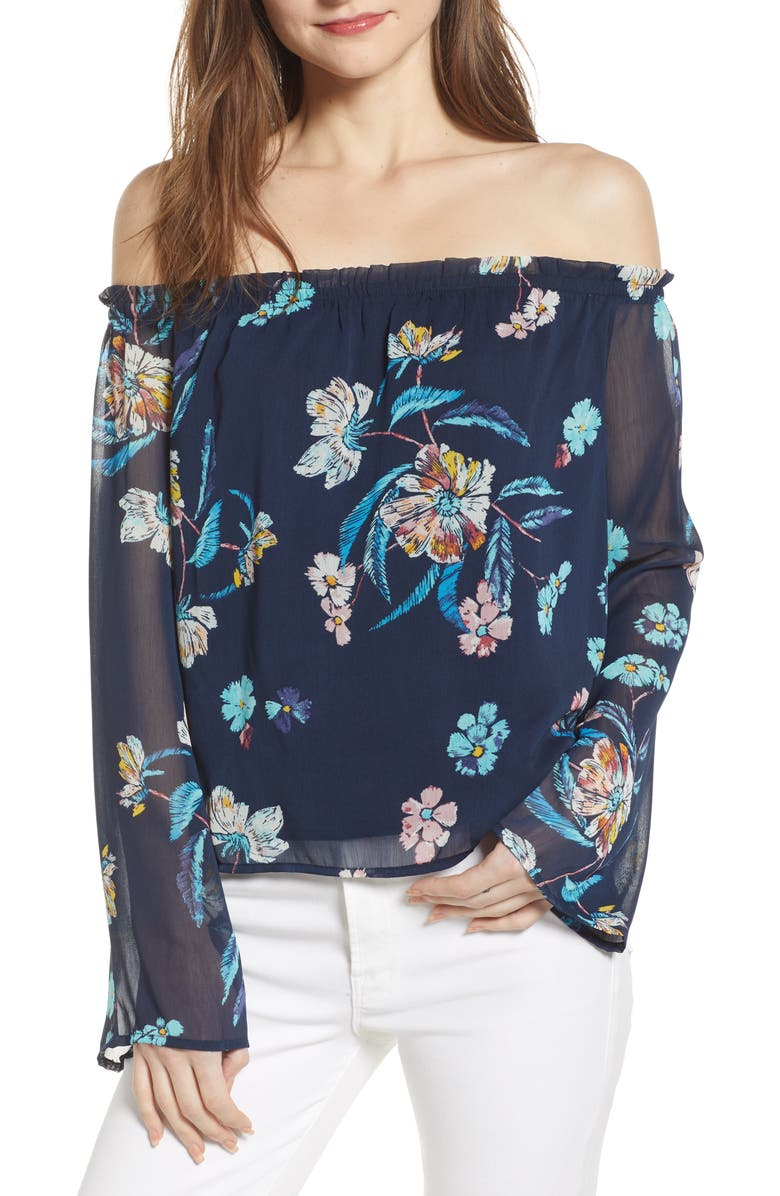 LOVE, FIRE Off the Shoulder Bell Sleeve Blouse, Main, color, NAVY FLORAL