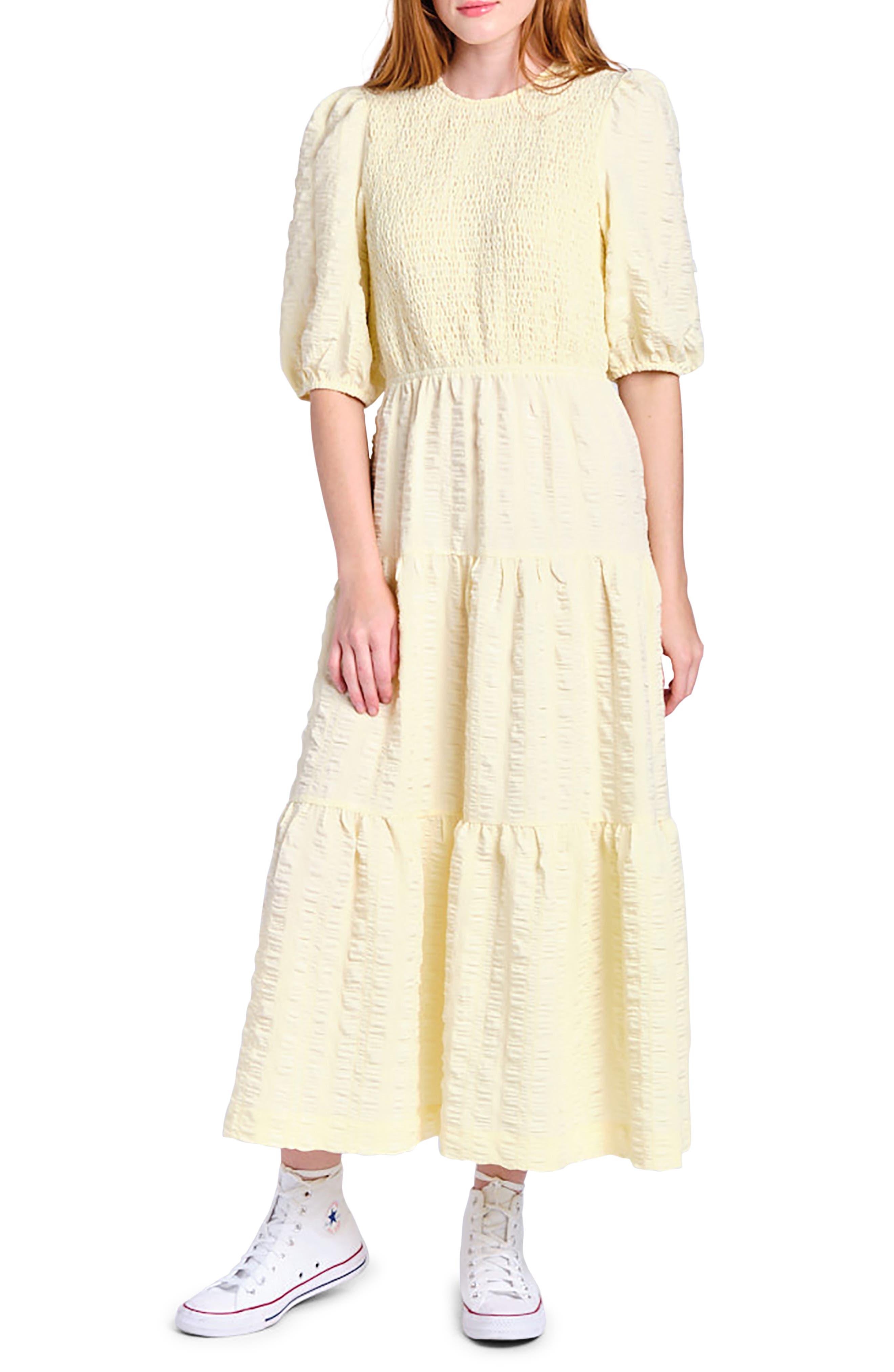 Smocked Tiered Midi Dress