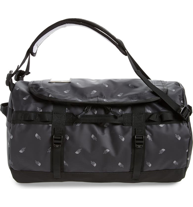 THE NORTH FACE Base Camp Water Resistant Duffle Bag, Main, color, TNF BLACK TOSSED LOGO PRINT