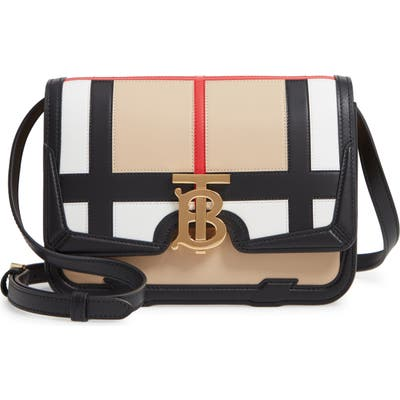 Burberry Small Tb Patchwork Leather Crossbody Bag - Beige