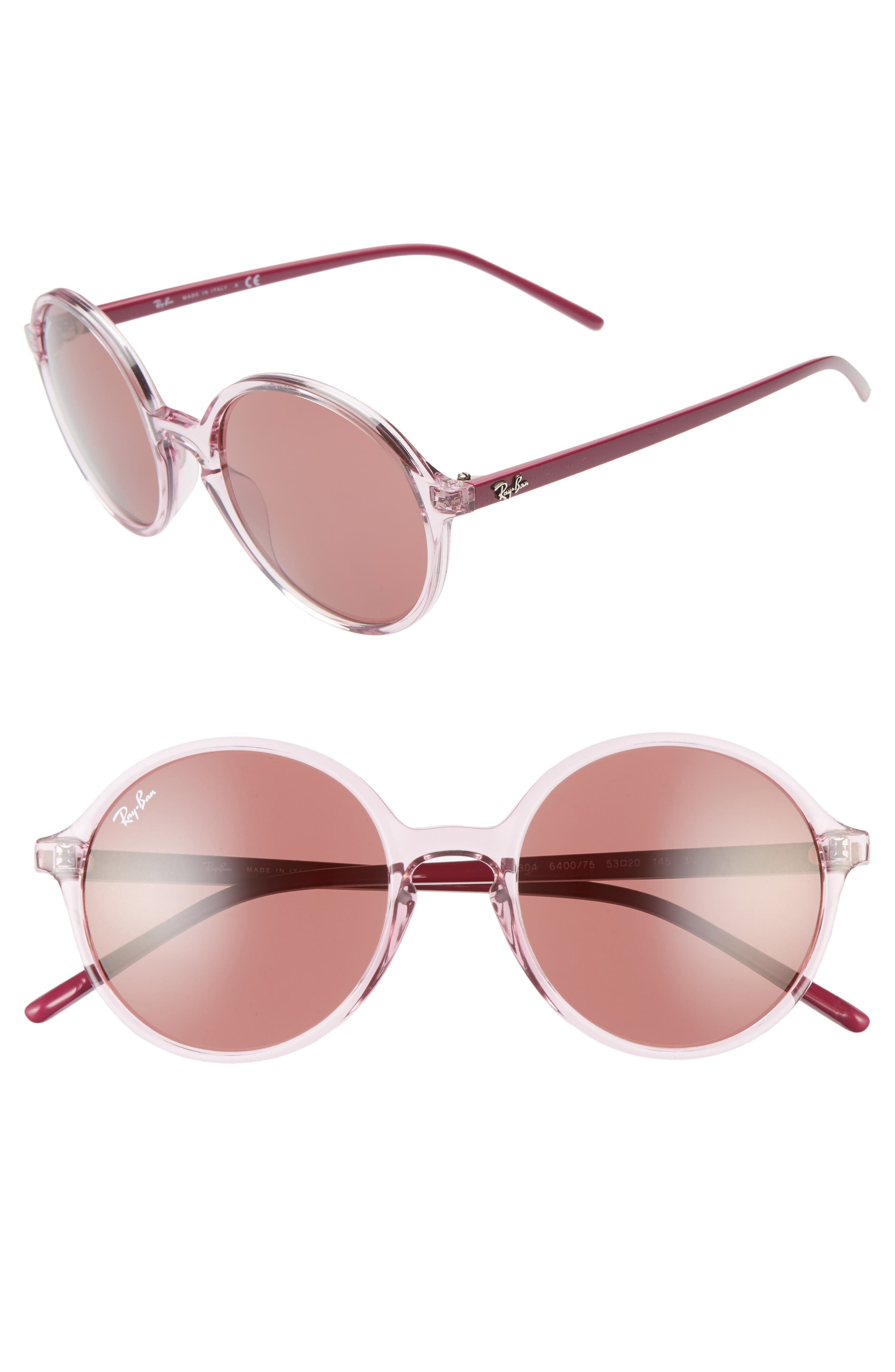 Ray-Ban 5m Round Sunglasses - Transparent Pink/ Pink Solid