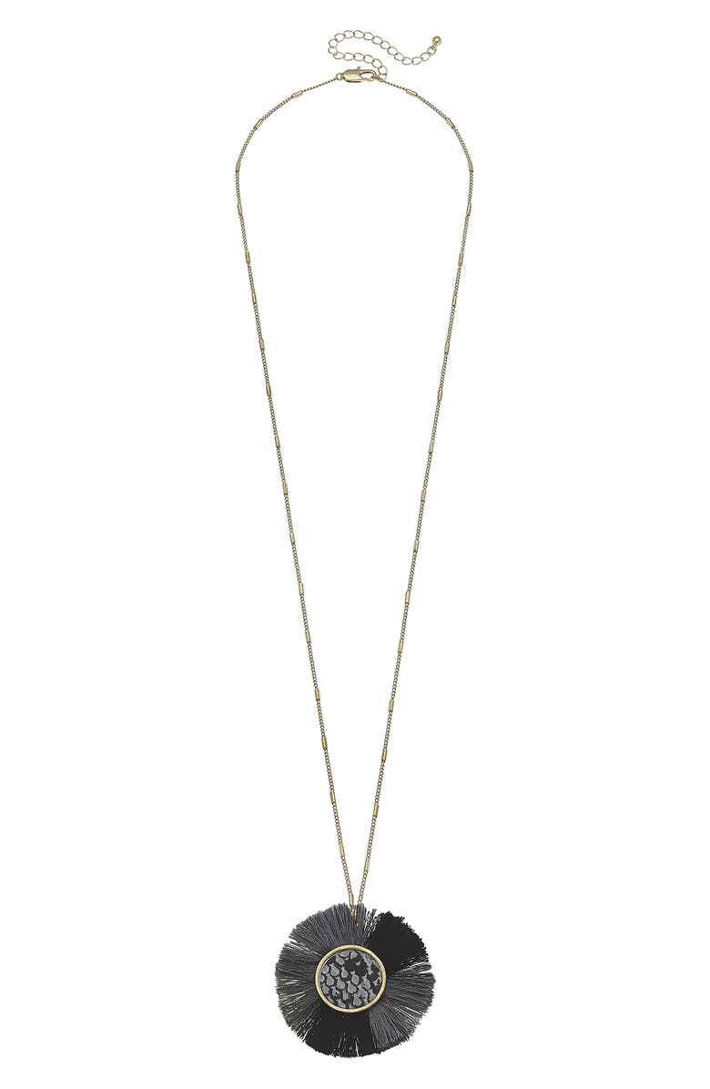 CANVAS JEWELRY Faux Snakeskin Disc Long Pendant Necklace, Main, color, GREY