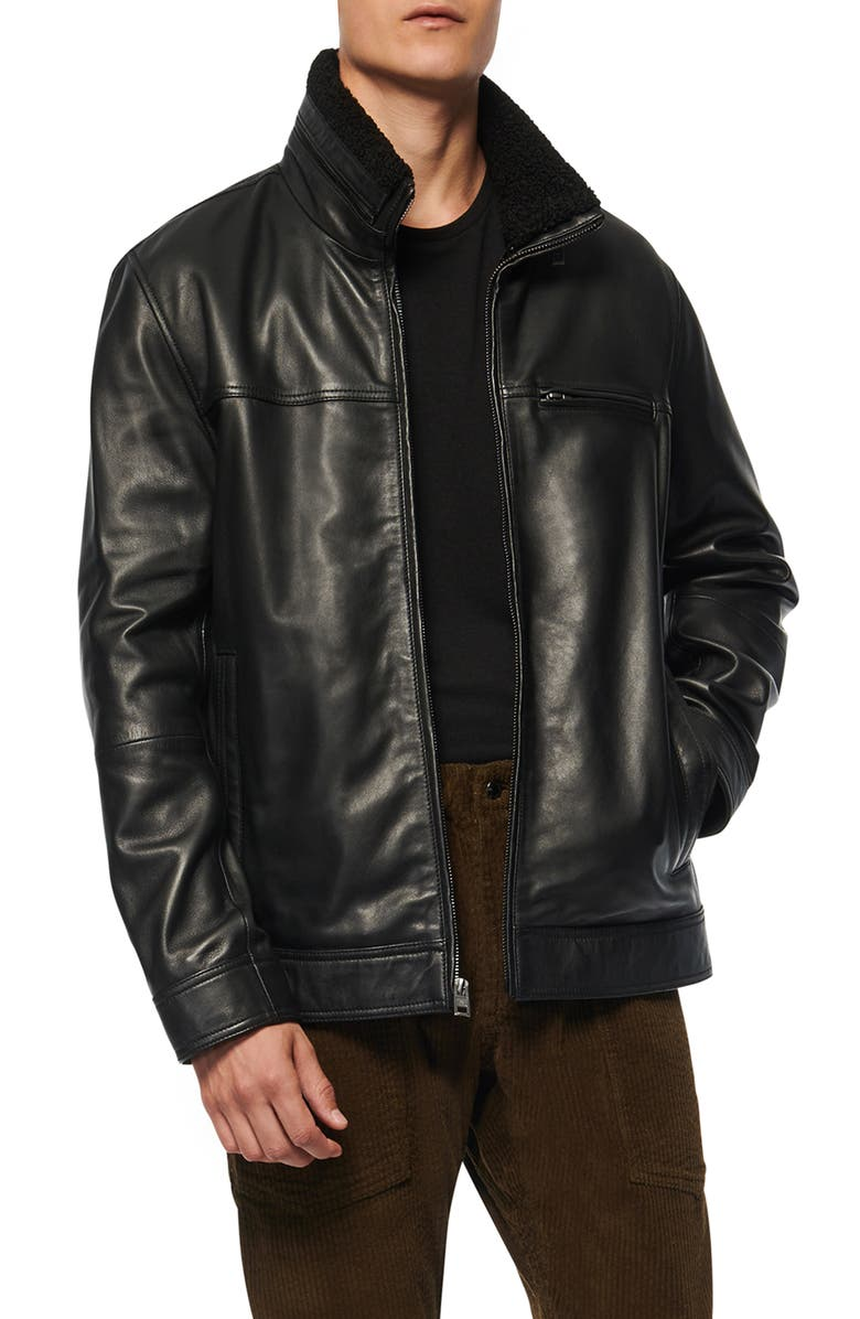 ANDREW MARC Andrew Mark Lambskin Leather Jacket, Main, color, BLACK
