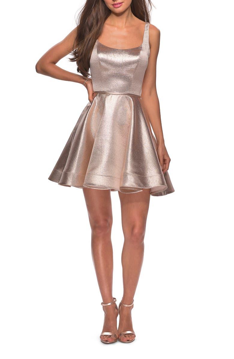 LA FEMME Metallic Fit & Flare Cocktail Dress, Main, color, ROSE GOLD