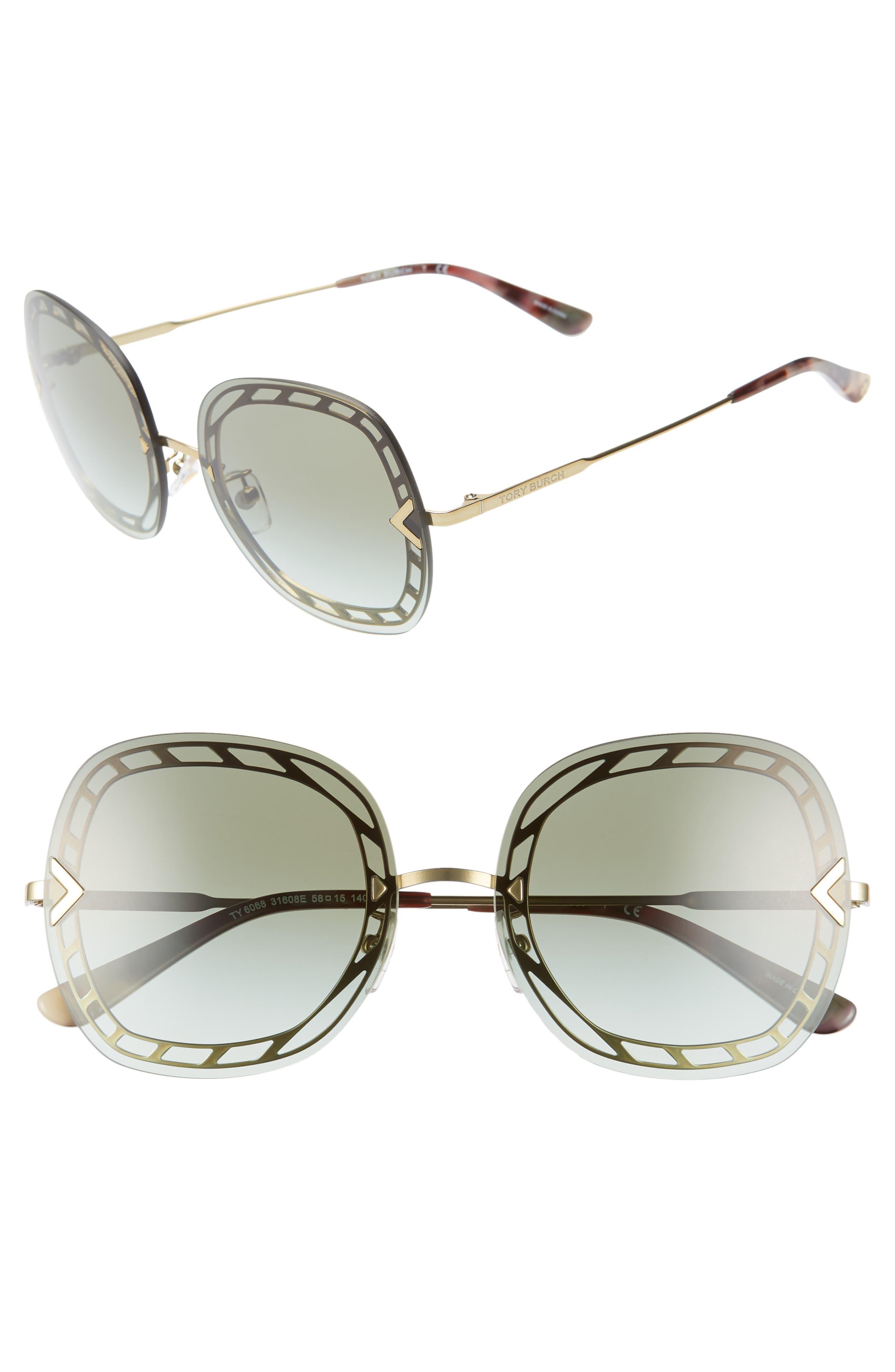 ,                             58mm Gradient Square Sunglasses,                             Main thumbnail 7, color,                             710