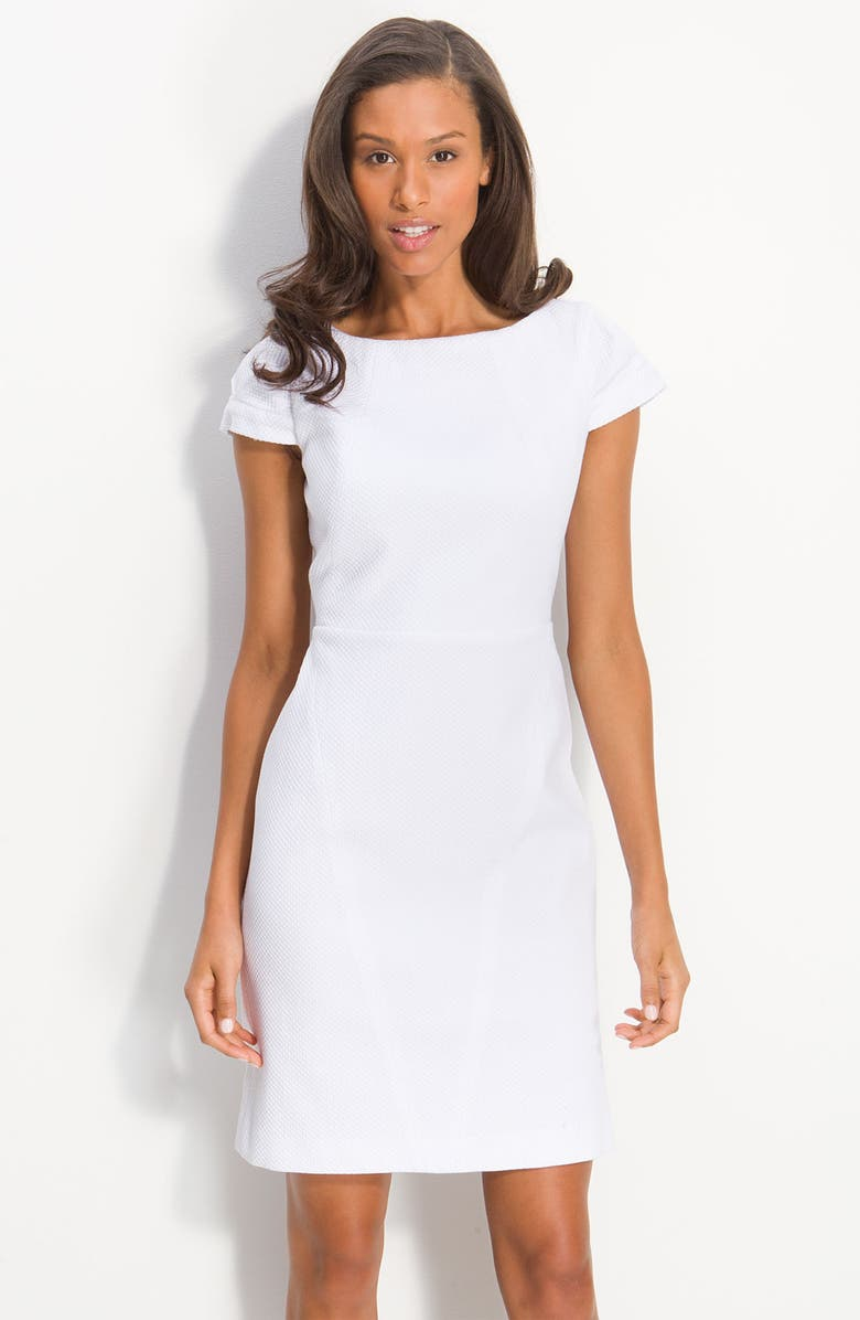 CALVIN KLEIN Cap Sleeve Cotton Jacquard Dress, Main, color, 100