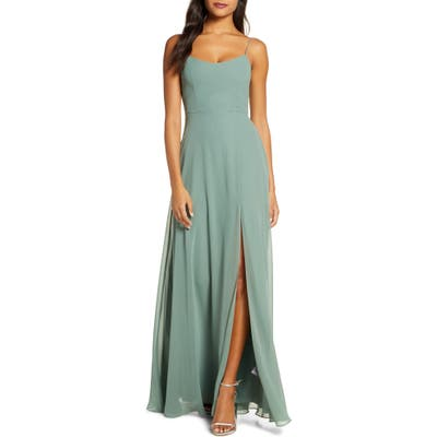 Jenny Yoo Kiara Bow Back Chiffon Evening Dress, Green