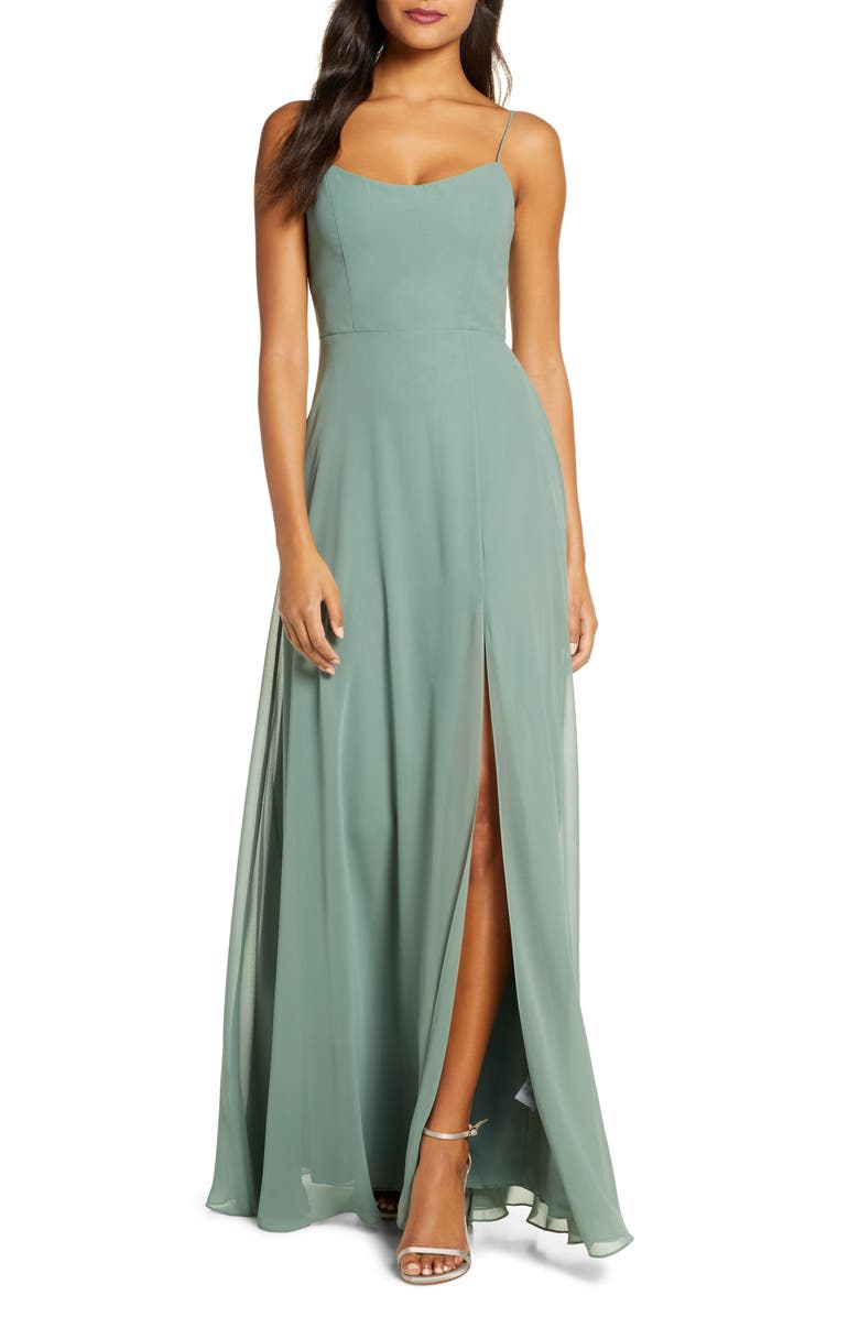 JENNY YOO Kiara Bow Back Chiffon Evening Dress, Main, color, EUCALYPTUS