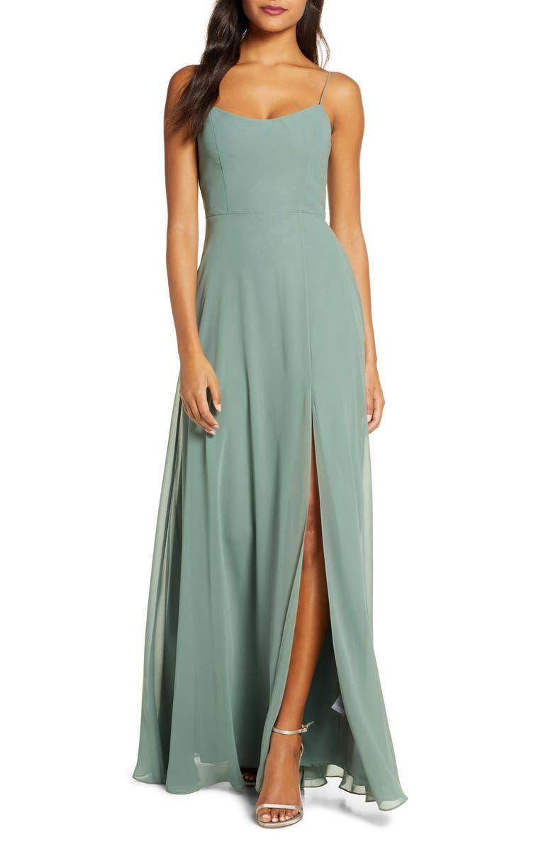 JENNY YOO Kiara Tie Back Chiffon A-Line Gown, Main, color, 310