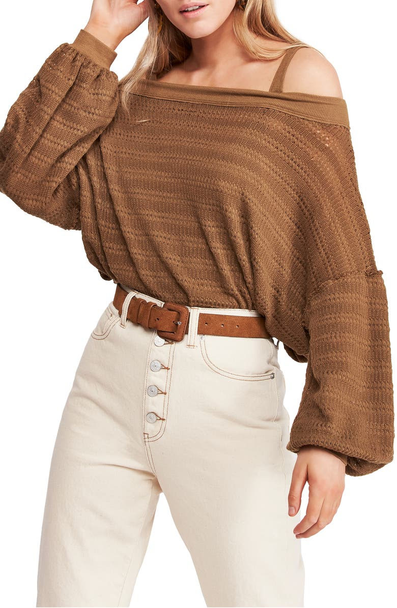 FREE PEOPLE Sistine Cold Shoulder Hacci Knit Top, Main, color, MOSS