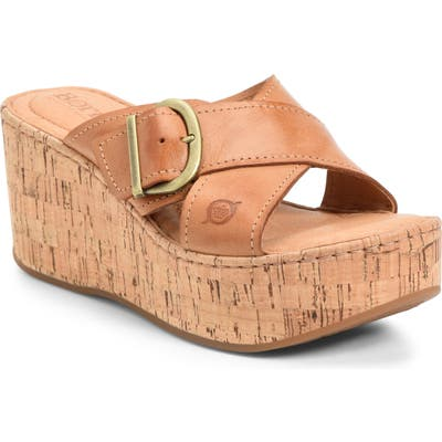 B?rn Devona Platform Wedge Sandal, Brown
