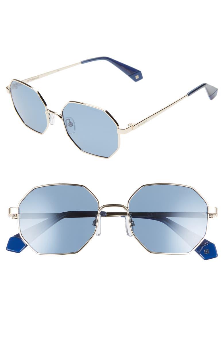 POLAROID 53mm Geometric Polarized Sunglasses, Main, color, GOLD/ BLUE