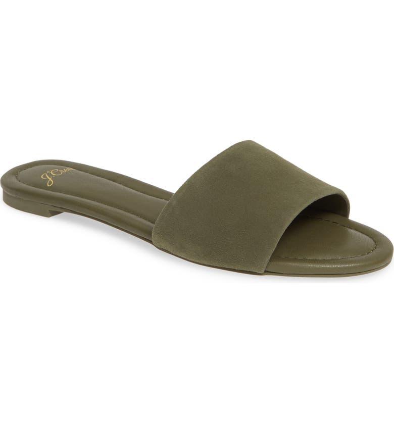J.CREW Cora Suede Slide Sandal, Main, color, FROSTY OLIVE