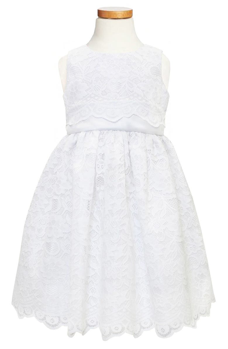 C.I. CASTRO & CO. Scallop Lace Dress, Main, color, WHITE