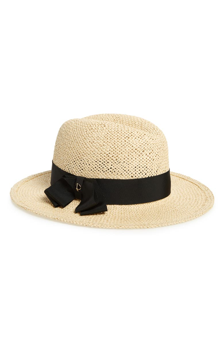 KATE SPADE NEW YORK straw fedora, Main, color, 205