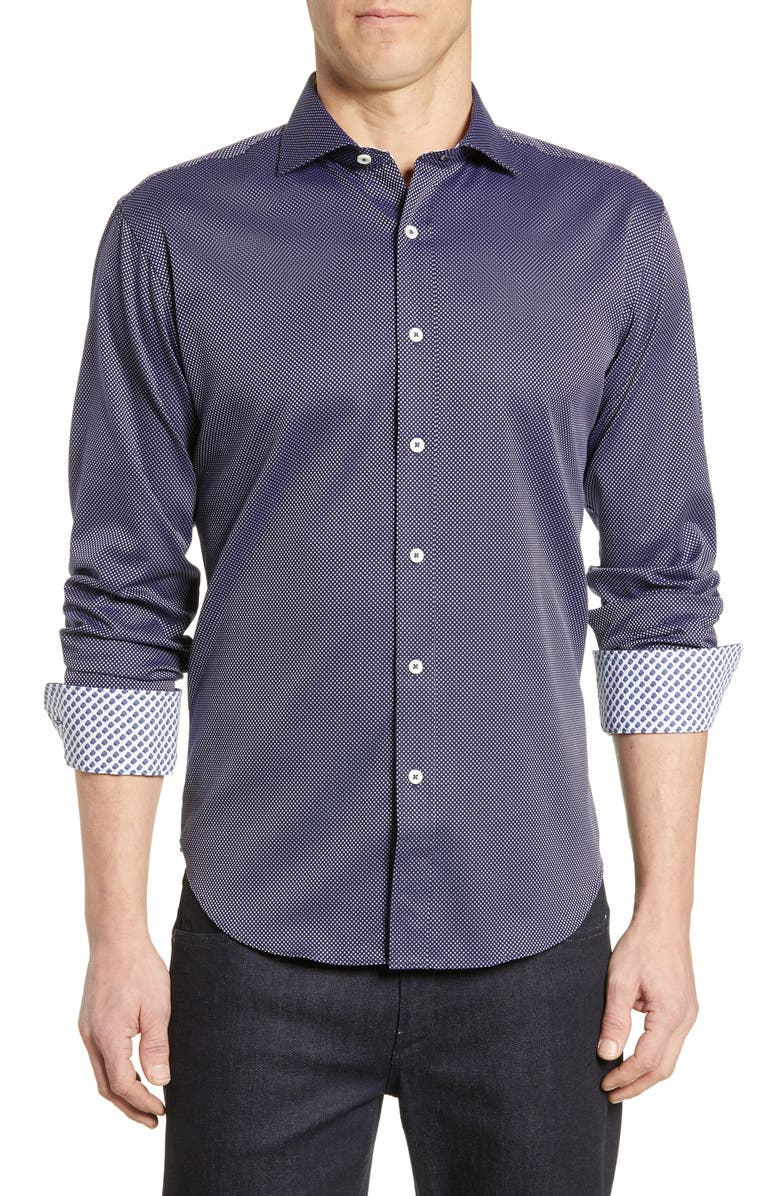 BUGATCHI Shaped Fit Microdot Shirt, Main, color, MIDNIGHT
