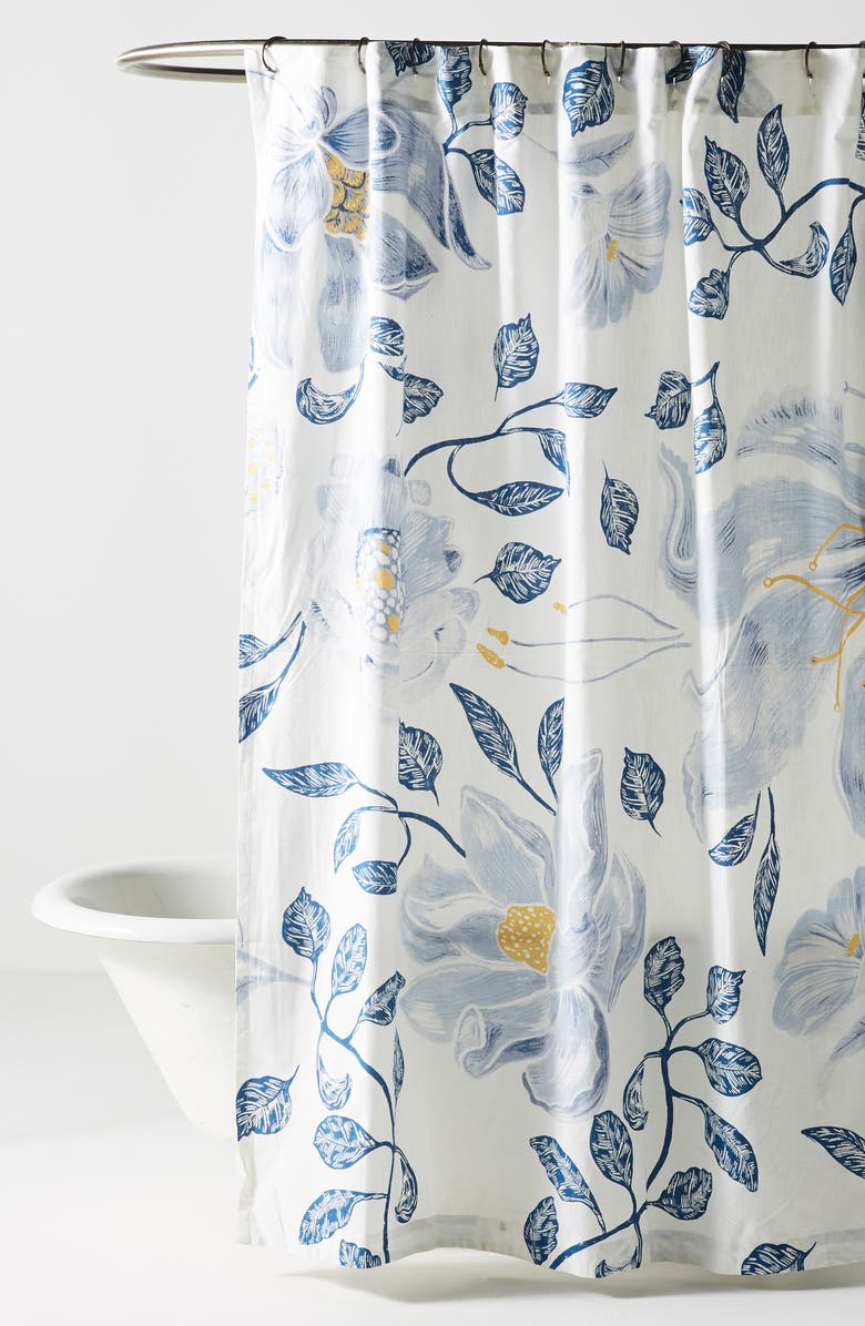 ANTHROPOLOGIE Catamarca Floral Shower Curtain, Main, color, BLUE COMBO