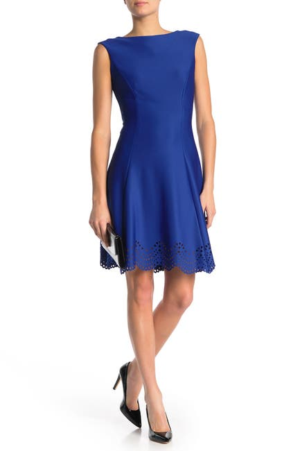 Image of Donna Ricco Boatneck Fit & Flare Dress