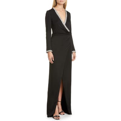 Haney Tatum Crystal Long Sleeve Gown, Black