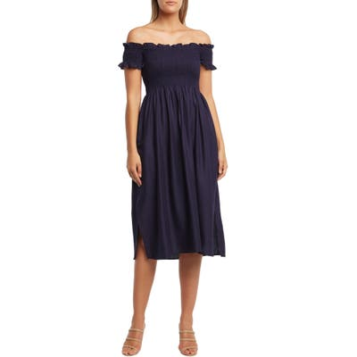 Bardot Cindy Off The Shoulder Dress, Blue