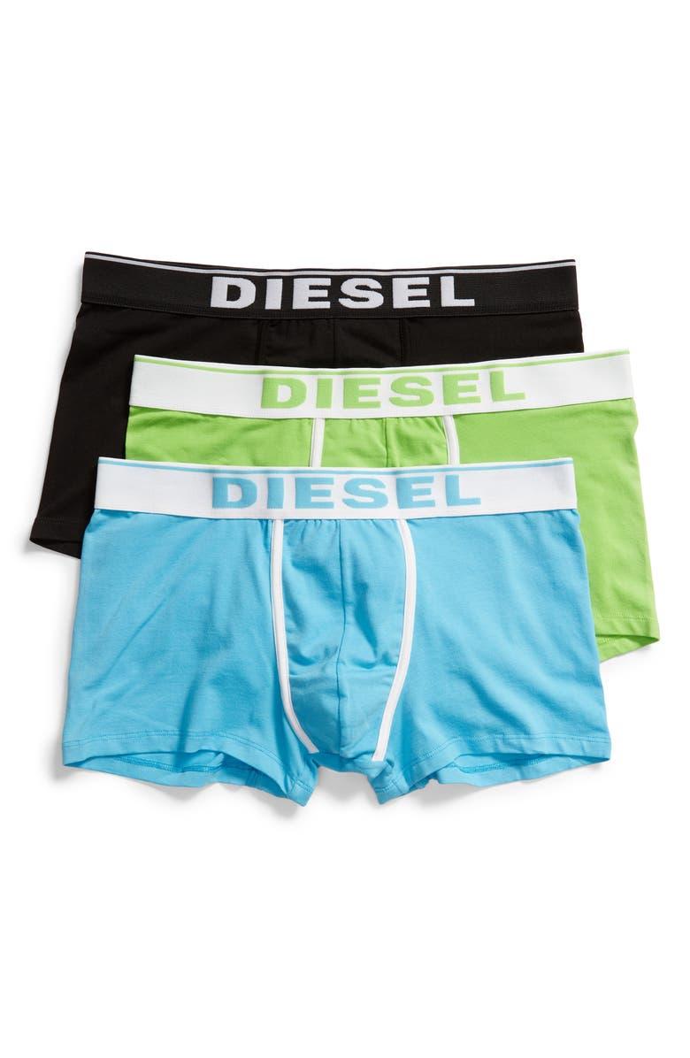 DIESEL<SUP>®</SUP> Damien 3-Pack Cotton Trunks, Main, color, BLACK/ GREEN/ BLUE