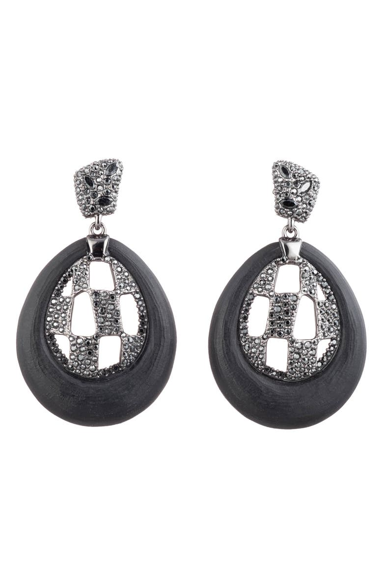 ALEXIS BITTAR Floral Noir Checkerboard Drop Earrings, Main, color, 001